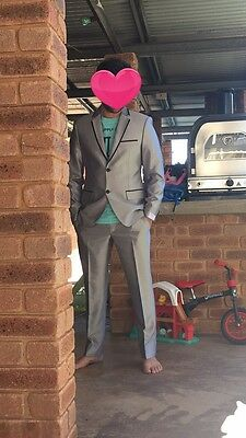 Men's Slim Fit Silver Suit With Black Piping Detail. Custom Made Size M