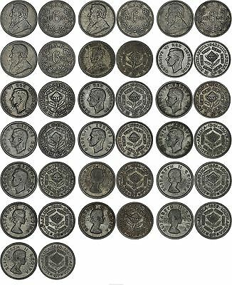 South Africa: 19 sixpences 6 six pence silver 1893-1960 (1893 1894 1895 1896...)