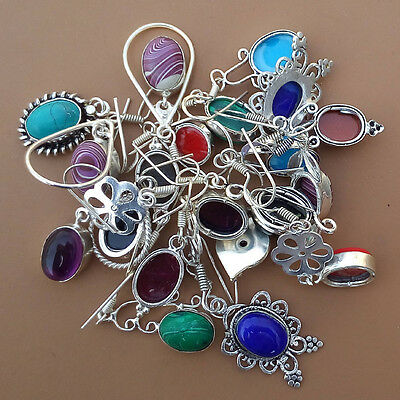 All Mix Gemstone Wholesale Lot 5 Pcs 925 Sterling Silver Plated Earrings