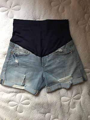 Pink Blush Maternity Light Distressed Jean Shorts Womens Size Medium