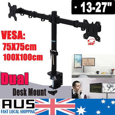 """Dual LED Desk Mount Monitor Stand Bracket 2 Arm Two LCD Hold for 13-27"""" Screen"""