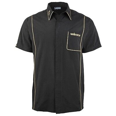 Unicorn Teknik Mens Sports Darts Shirt Black / Gold Large box7552 K