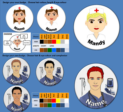 Design Your own Nurse Name Tag Badge (58mm) (Add a Christmas Cap if you wish)