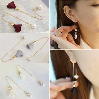 Women Fashion Gold Silver Plated Crystal Flower Drop Dangle Long Chain Earrings