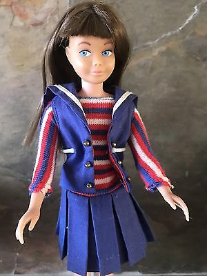 Vintage Skipper Doll w/Silky Unplayed with Brunette Hair + Ship Ahoy & Red Flats