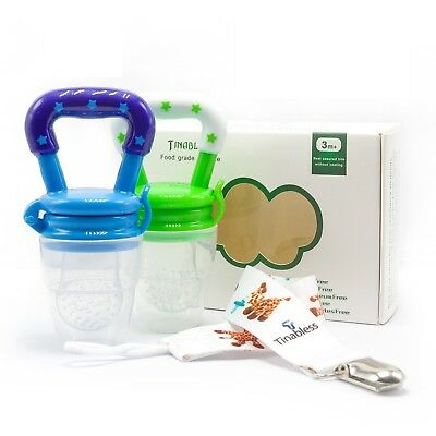 Tinabless Baby Fresh Food Feeder Pacifier - 2Pcs Silicone Infant Baby Teethin...