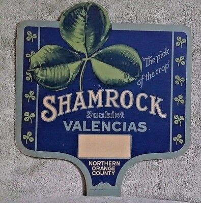 Vintage Advertising Hand Fan- Shamrock Sunkist Valencias- Northern Orange County