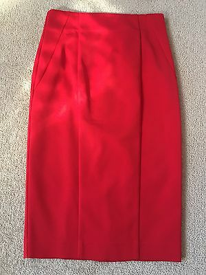Cue Ladies Size 8 Red Pencil Skirt