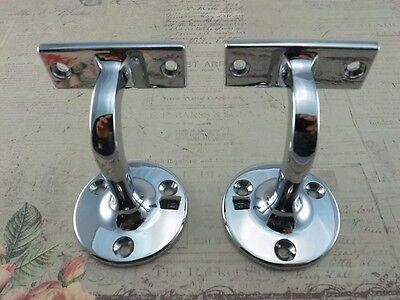 Compact Wall Mounted Handrail Brackets - Chromed Plated  (Lot of 2) New