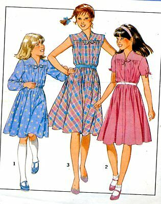 Cut Sewing Pattern Girls Pullover Dress Sleeve Variations Size 8. Date 1981