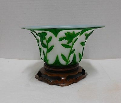 Antique-Chinese glass bowl withe wood Stand   黃花梨
