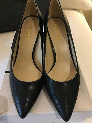 Nine West Black Leather Stiletto Court Shoes Size 7 Worn Once