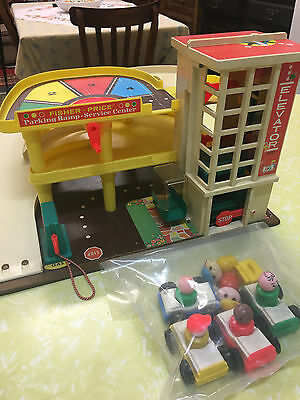 Vintage fisher price little people garage and cars and figures