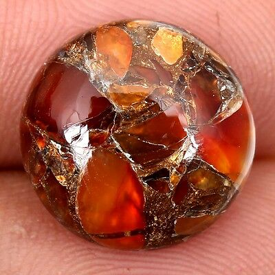 Superb CARNELIAN COPPER MOHAVE 14x14 mm Round Cabochon Gemstone 7.5 Cts S-27597