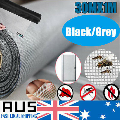 100FT 30M Roll Insect Flywire Window Screen Net Mesh Flyscreen Home Black/ Grey
