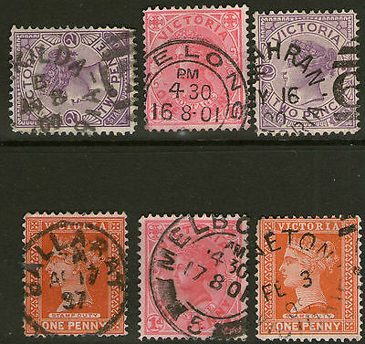Victoria 6 state stamps Collection cds. postmarks Lot TT
