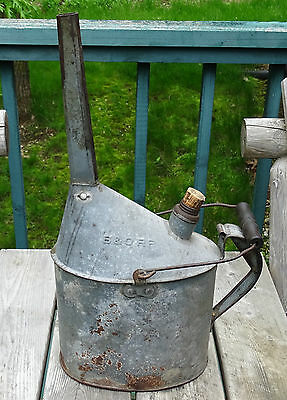 """Vintage, Old, Antique B & O Railroad Oil Can 22.5"""" Tall Galvanized W/Wood Handle"""
