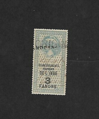French India 3 Fanons  Revenue stamp used Chandernagor