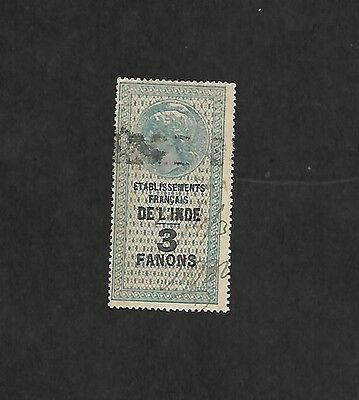 French India 3 Fanons  Revenue stamp