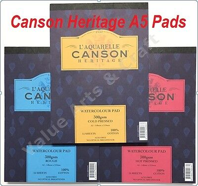 Canson Heritage Watercolour Paper A5 Pad 300gms (Smooth, Medium, Rough)