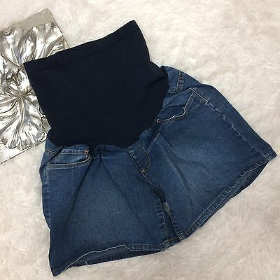 Oh Baby Maternity Denim Shorts Size M Medium Full Panel Belly Band Stretch Fit
