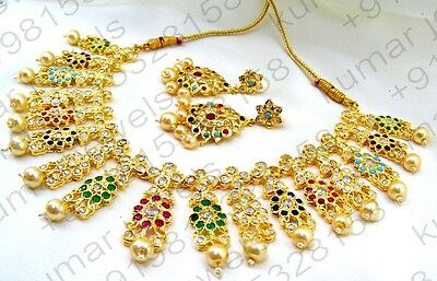 22kt Gold Plated Jadau Style Multi Color Stone Beaded Necklace Set