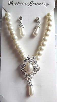 Wedding ,bridal ,cream,ivory Double Strand  Pearl,clear  Necklace Earring