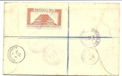 Great Britain early KGVI registered cover with Brussels 1935 exhibition LABEL