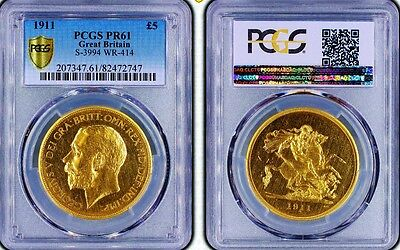 1911 Gold Proof Five Pounds; Rare Low Mintage Example