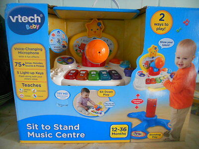 NEW VTECH Baby Sit to Stand MUSIC CENTRE 75+ Songs Sounds Microphone & Keyboard
