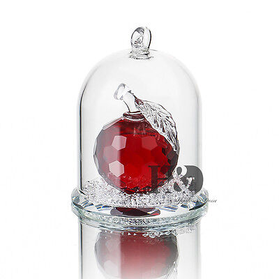 H&D Red Crystal Enchanted Apple Figurine Dreams Ornament in a Glass Dome