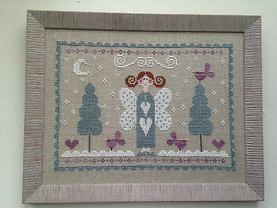 Handmade Completed cross stitch framed picture of a fairy in a forest