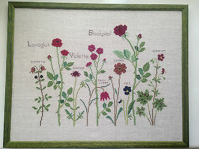 Handmade Completed cross stitch framed picture of flowers