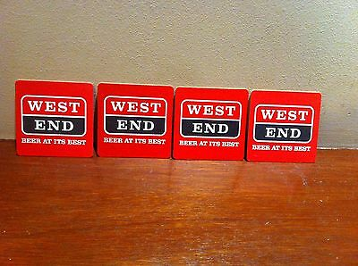 4 x vintage WEST END BEER drink coasters - BEER AT ITS BEST