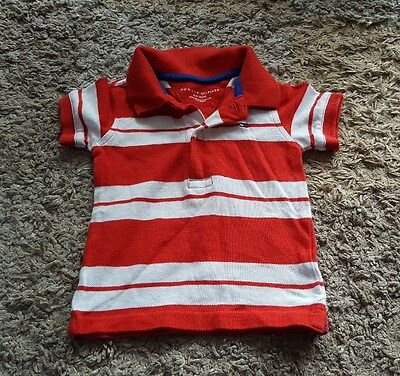 Tommy Hilfiger red and white striped polo shirt age 6-9 months