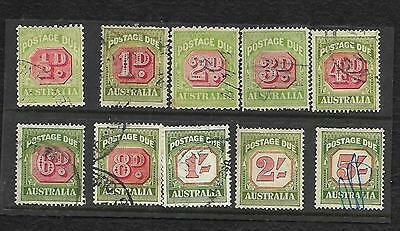 POSTAGE DUE SELECTION OF 10 USED ALL DIFFERENT 1/2D to 5/-