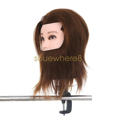 Real Human Hair Hairdressing Training Mannequin Man With Beard Head +Clamp GOOD