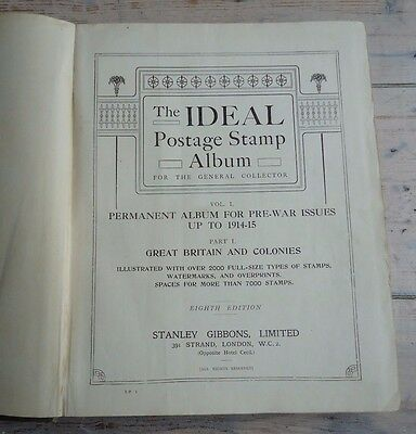 "Vintage STANLEY GIBBONS ""IDEAL POSTAGE STAMP ALBUM"" Vol 1 British Empire to 1915"