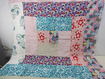 "Vintage Feed Sack Pieced Quilt Top Section for Projects 34"" x 36""  FS#4"