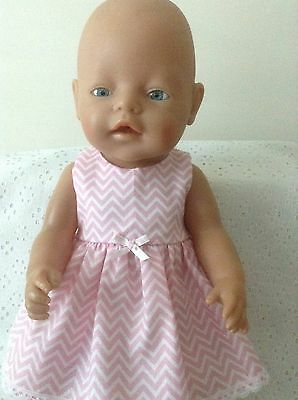 Dolls clothes Handmade - CPK/Baby Born 43cm doll~ Pink & White chevrons Dress