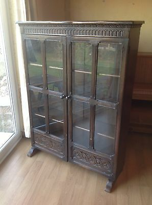 Solid Oak Glazed Carved Bookcase/ Display Cabinet. Approximately 1920's