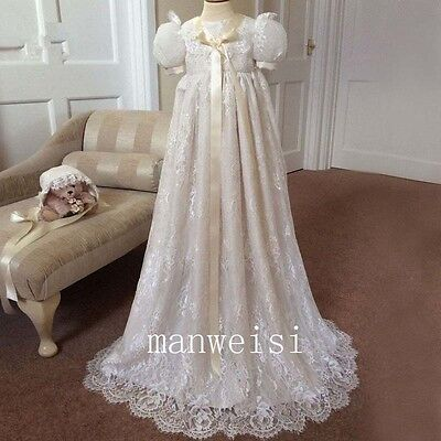 Luxury Royal Lace Baby Robe Baptism Dresses Infant Christening Gown With Bonnet