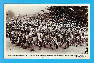 Photo Postcard Victory March Allied Troops French Infantry London England 1919