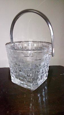 Retro Glass Basket Weave Ice Bucket
