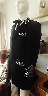 Teddy Boy Drape Style Jacket - Charcole with Grey Velvet Leopard Print Trim 42""