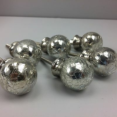 New SET 6 X GLASS SILVER CRACKLE KNOBS - Home decor furniture  drawer pull