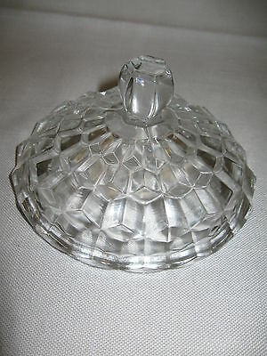 Jeanette Glass Co Candy Butter Dish Lid Cube Cubist 1929-1933