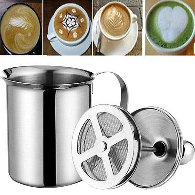 Manual Milk Frother Stainless Steel Double Mesh Coffee Cappuccino Foamer Creamer