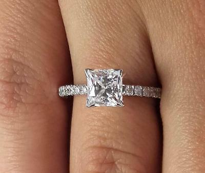 2 Ct Princess Cut Diamond Engagement Ring SI1/D 14K White Gold