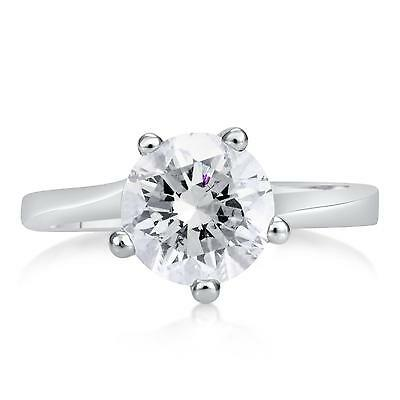 2 Ct Round Cut Diamond Engagement Ring SI1/D 14K White Gold